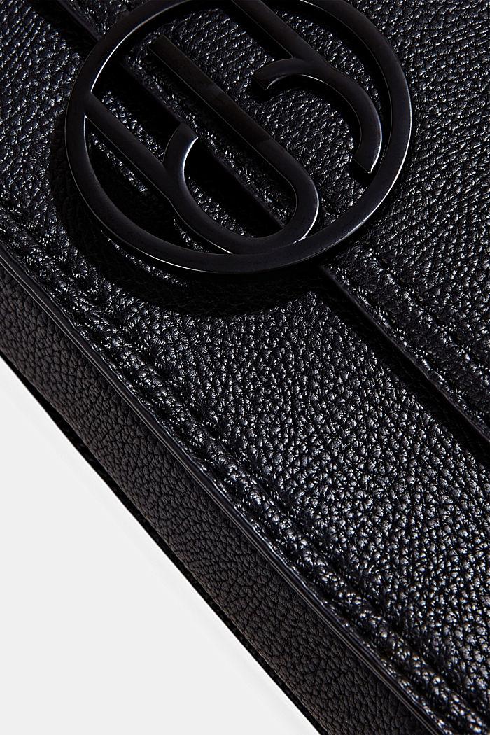 Vegan: Schultertasche in Leder-Optik, BLACK, detail image number 3