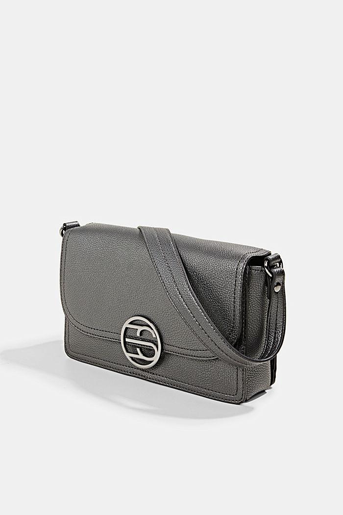 Vegan: faux leather shoulder bag, GUNMETAL, detail image number 2
