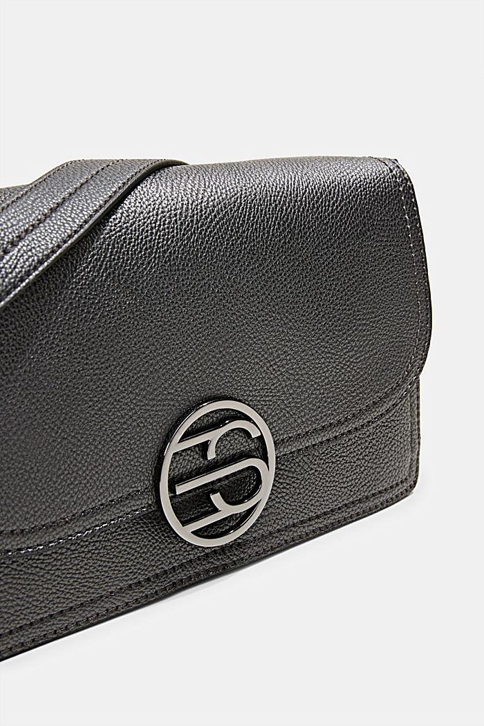 Vegan: faux leather shoulder bag, GUNMETAL, detail image number 3