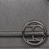 Vegan: faux leather shoulder bag, GUNMETAL, swatch