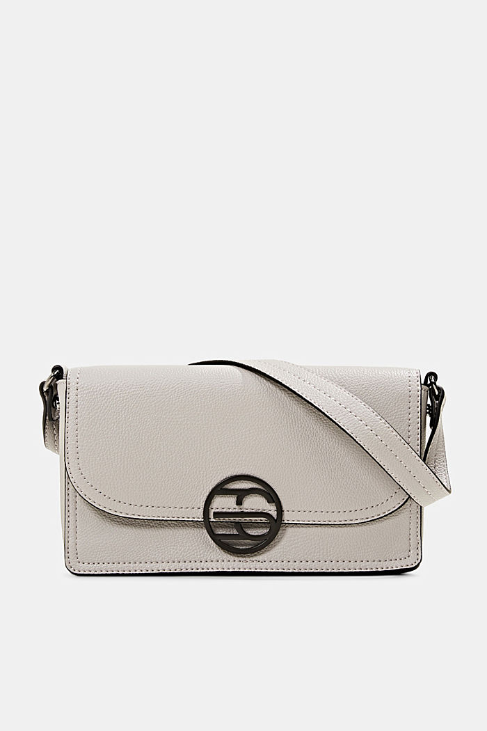 Vegan: faux leather shoulder bag, LIGHT GREY, detail image number 0