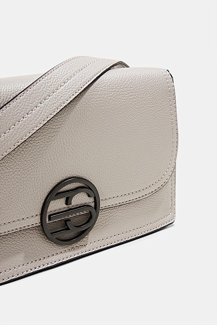 Vegan: faux leather shoulder bag, LIGHT GREY, detail image number 3