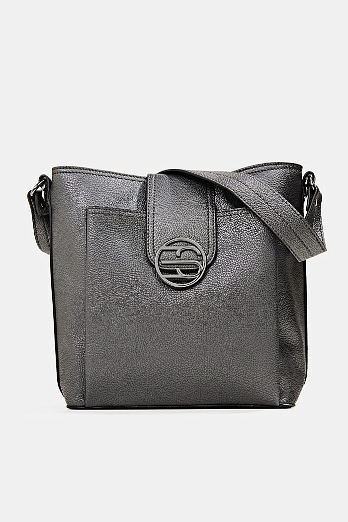 Monogramm Schultertasche in Leder-Optik, GUNMETAL, overview