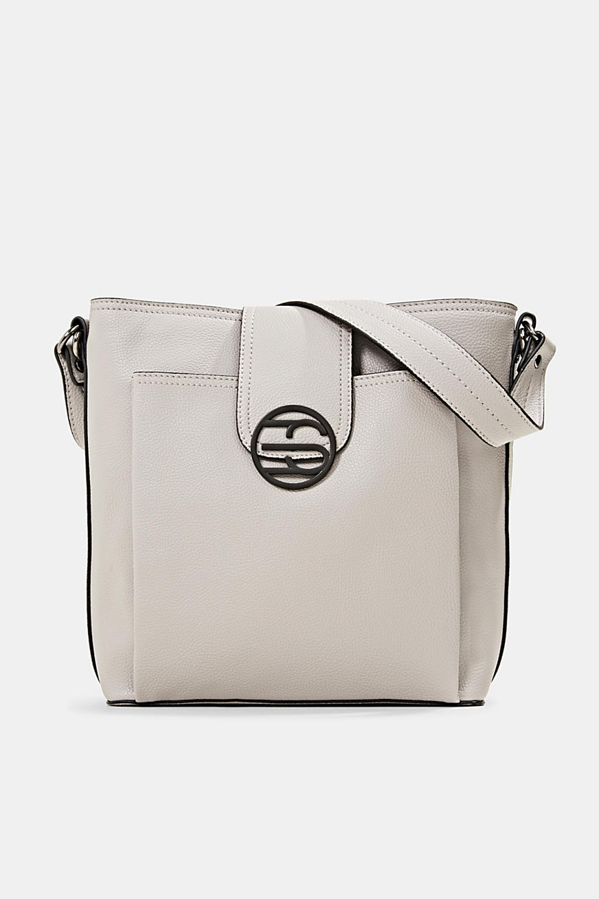Monogram faux leather shoulder bag