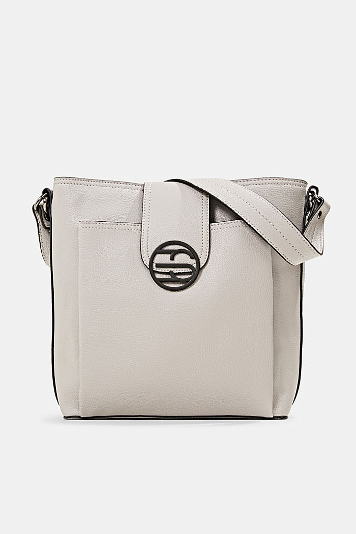 Monogram faux leather shoulder bag, LIGHT GREY, detail image number 0