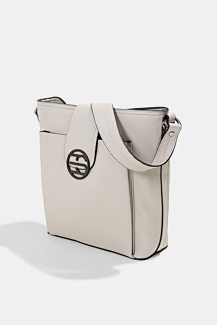 Monogram faux leather shoulder bag, LIGHT GREY, detail image number 2