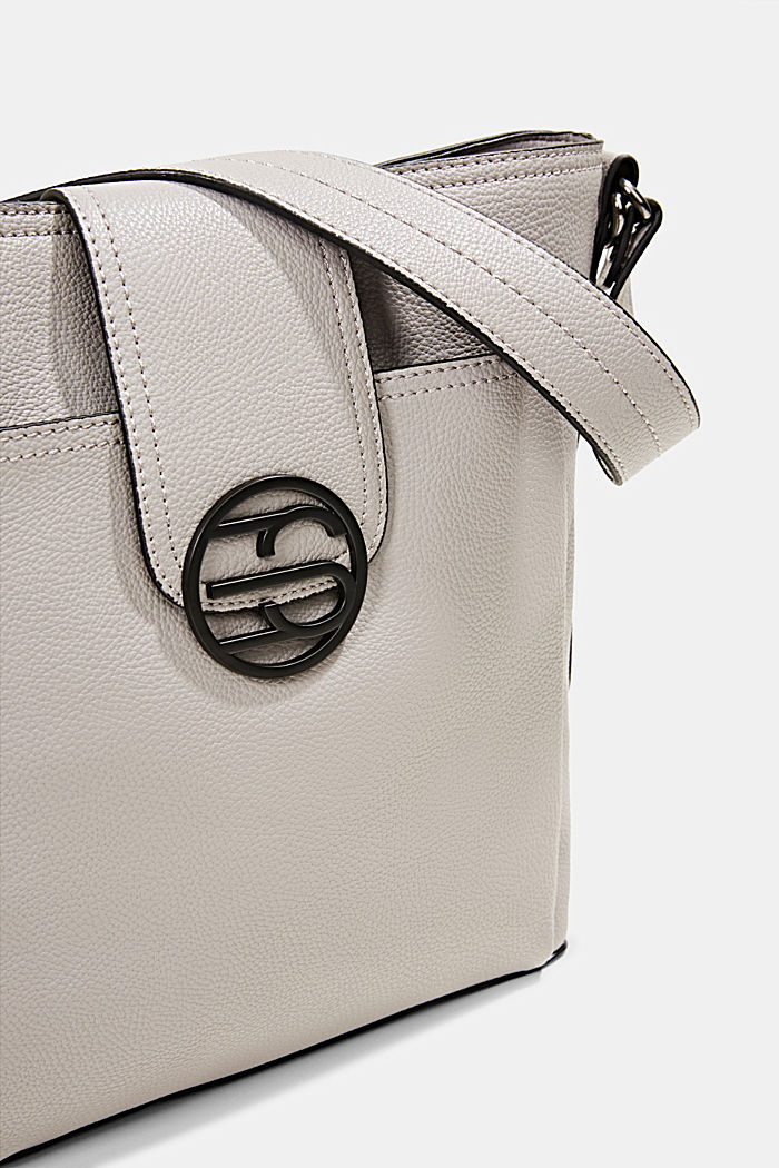 Monogram faux leather shoulder bag, LIGHT GREY, detail image number 3