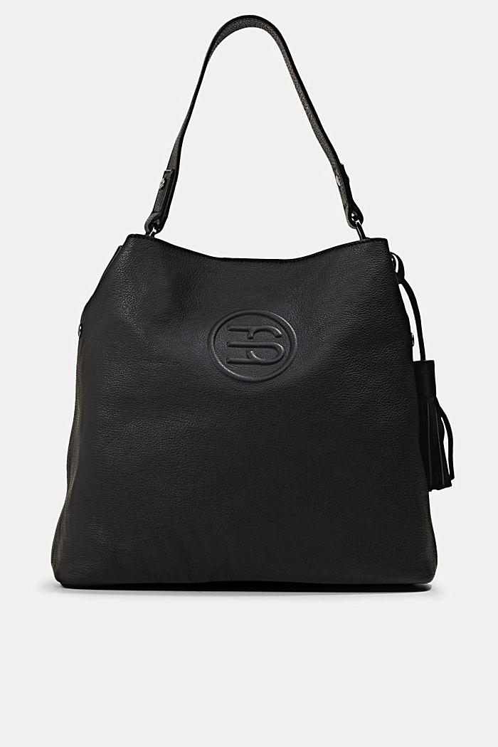 Monogrammed leather hobo bag, BLACK, detail image number 0