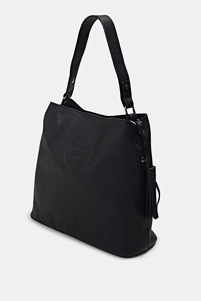 Monogrammed leather hobo bag, BLACK, detail image number 2