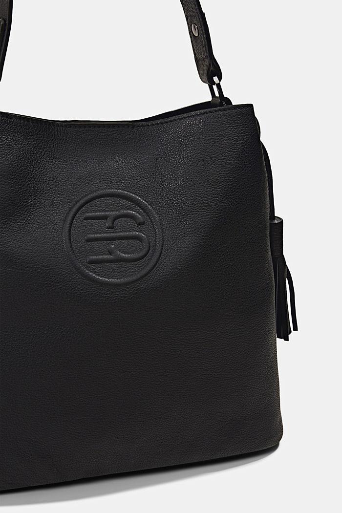 Monogrammed leather hobo bag, BLACK, detail image number 3