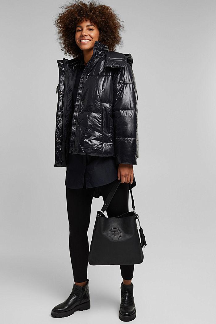 Monogrammed leather hobo bag, BLACK, detail image number 1