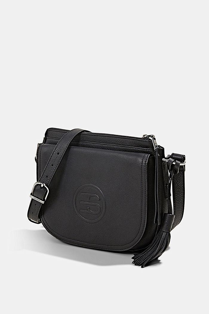 Monogram leather shoulder bag, BLACK, detail image number 2