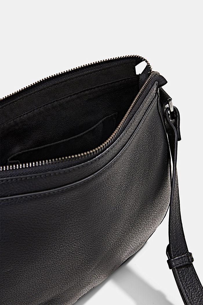 Monogram leather shoulder bag, BLACK, detail image number 4