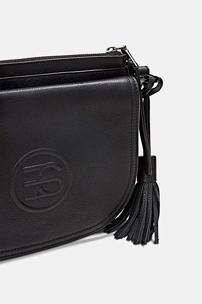 Monogram leather shoulder bag, BLACK, detail image number 3
