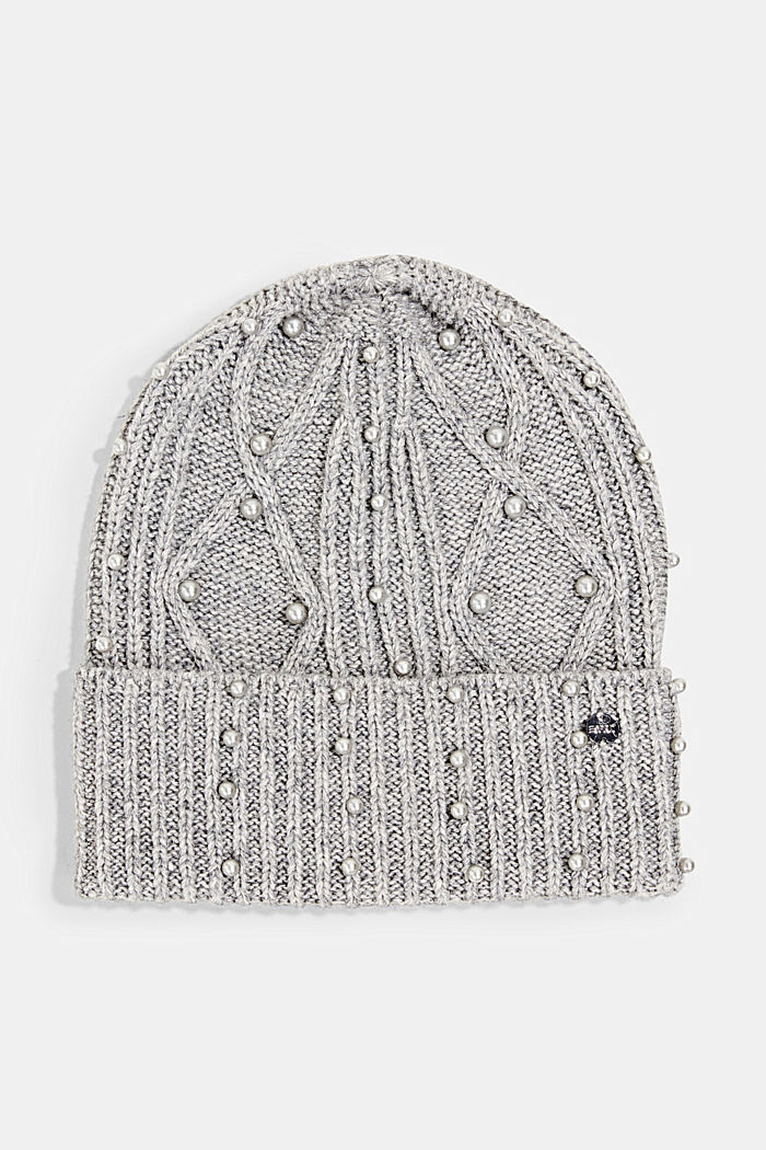 Recycled: blended wool beanie decorated with beads, GREY, detail image number 0