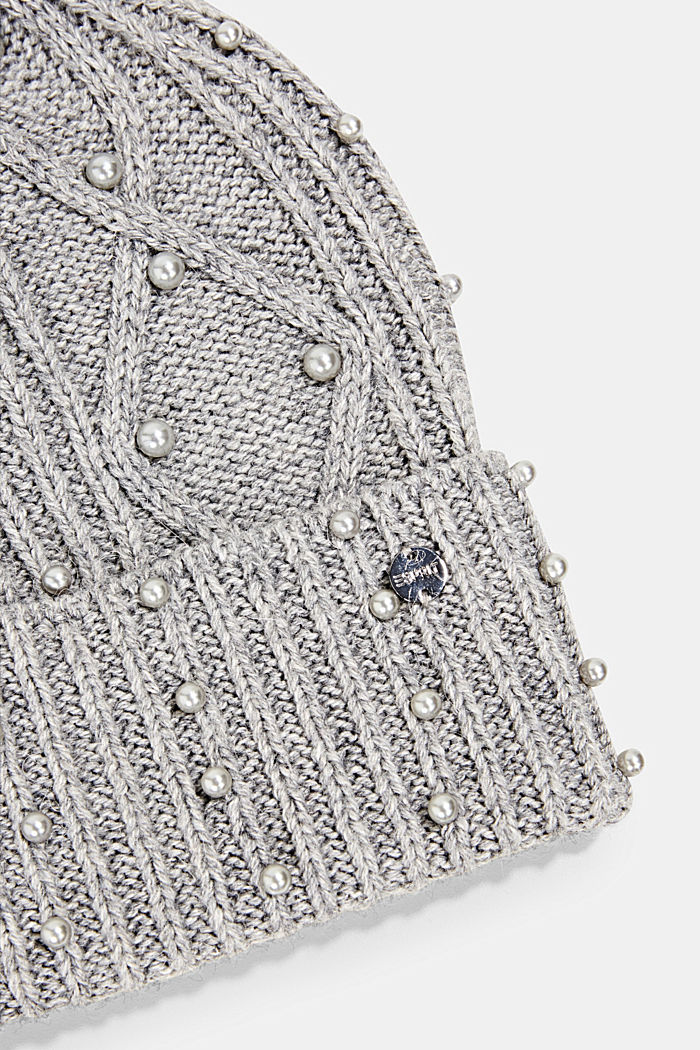 Recycled: blended wool beanie decorated with beads, GREY, detail image number 1