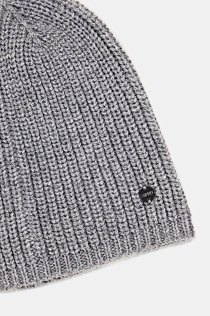 Recycled: ribbed blended wool beanie, GUNMETAL, detail image number 1