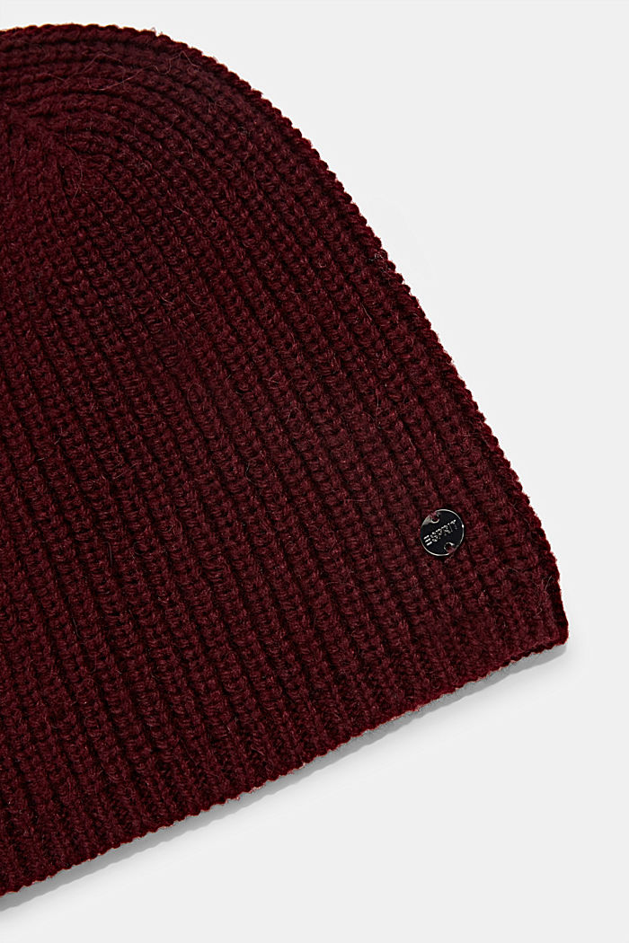 Recycled: ribbed blended wool beanie, BORDEAUX RED, detail image number 1