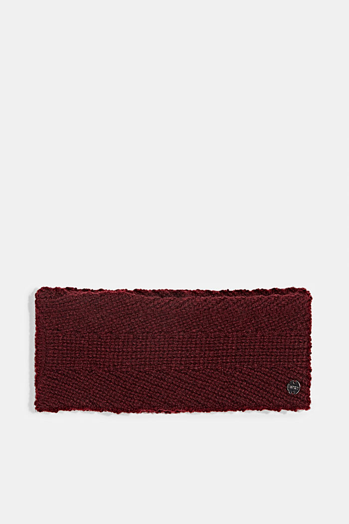 Recycled: wool/alpaca blend headband, BORDEAUX RED, detail image number 0