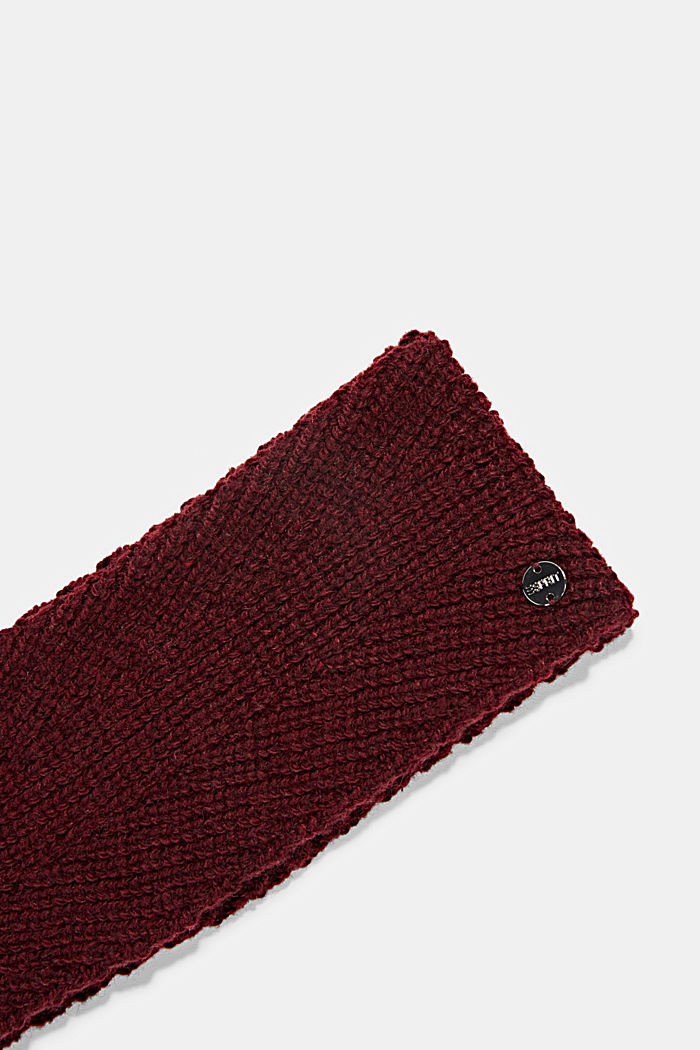 Recycled: wool/alpaca blend headband, BORDEAUX RED, detail image number 1