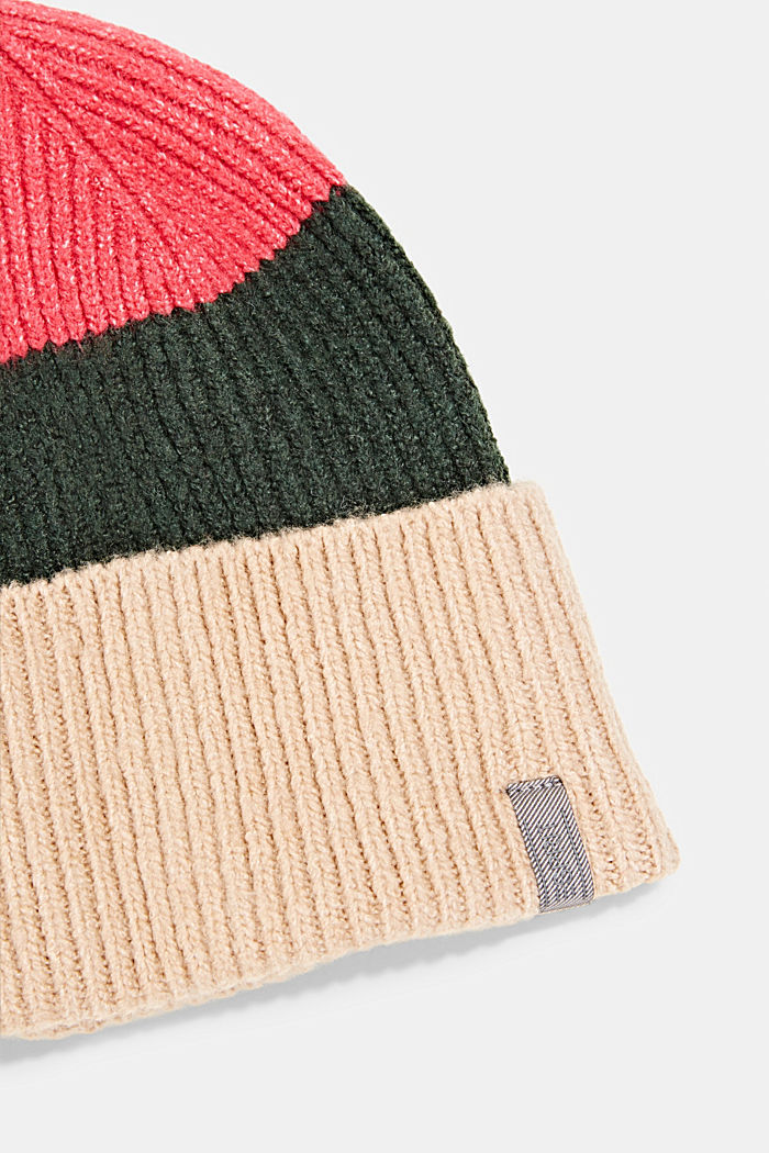 Recycled: blended wool beanie, BEIGE, detail image number 1