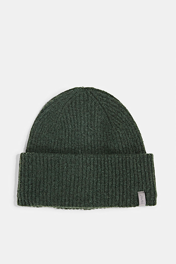 Recycled: blended wool beanie, DARK GREEN, detail image number 0