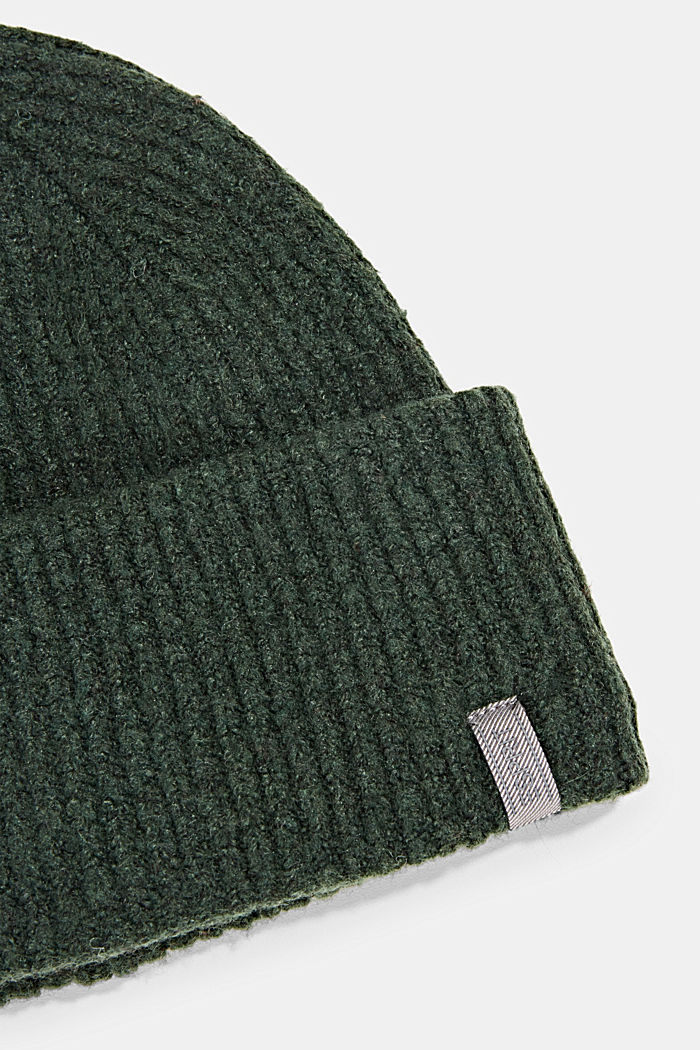 Recycled: blended wool beanie, DARK GREEN, detail image number 1