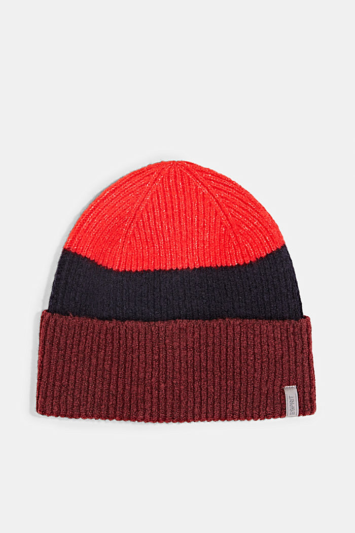Beanie with block stripes