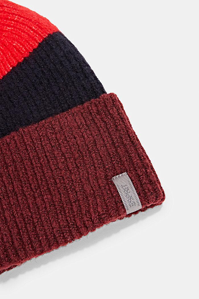 Gorro con diseño de rayas anchas de colores, BORDEAUX RED, detail image number 1