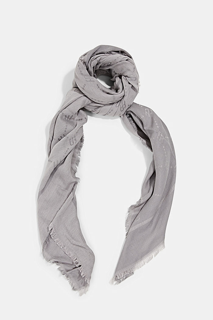 Woven scarf with a monogram, 100% cotton, LIGHT GREY, detail image number 0