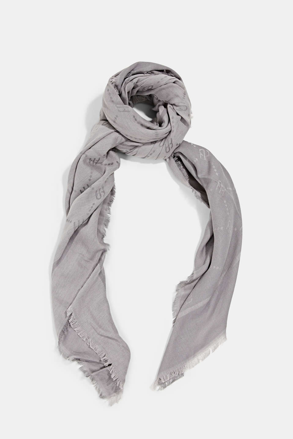 Esprit - Woven scarf with a monogram, 100% cotton
