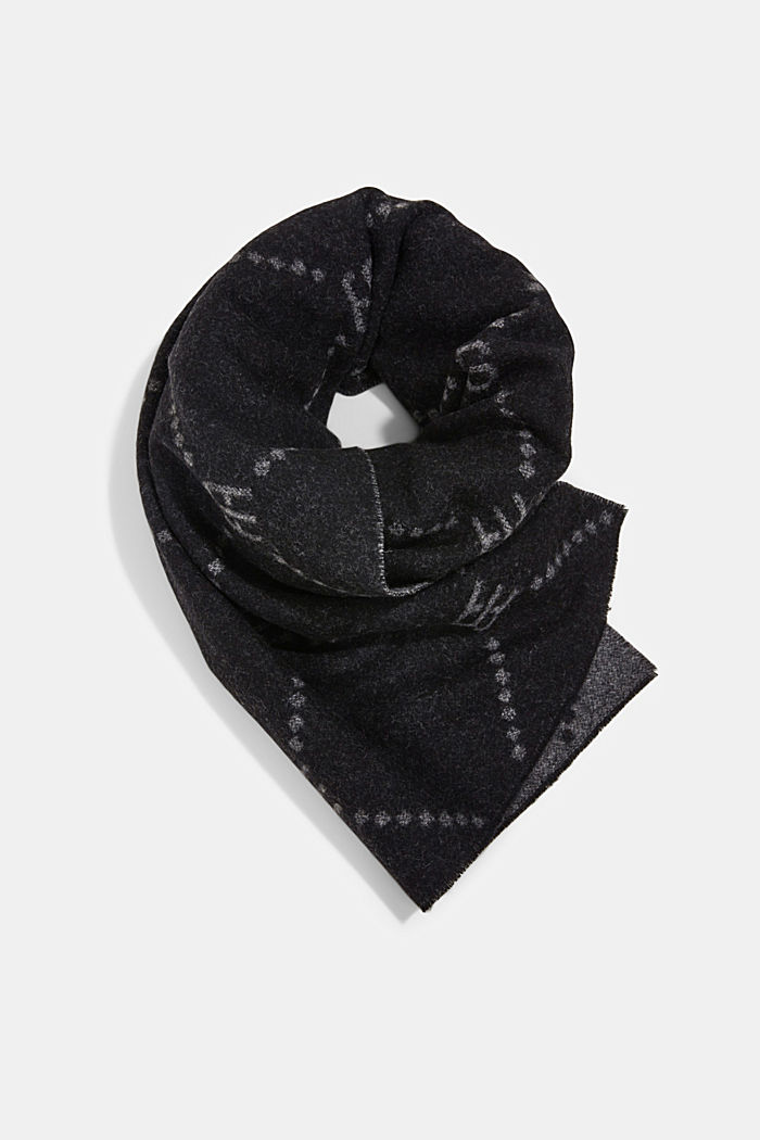 Made of wool/cashmere: monogram scarf, BLACK, detail image number 0