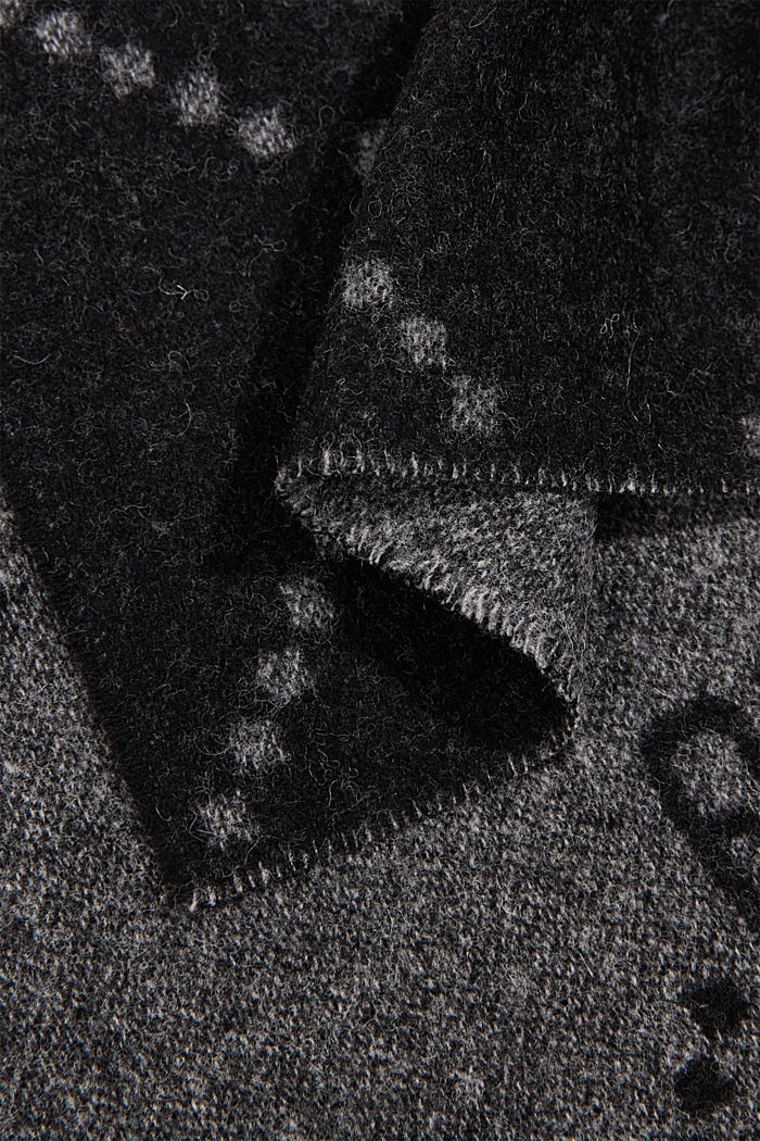 Made of wool/cashmere: monogram scarf, BLACK, detail image number 2