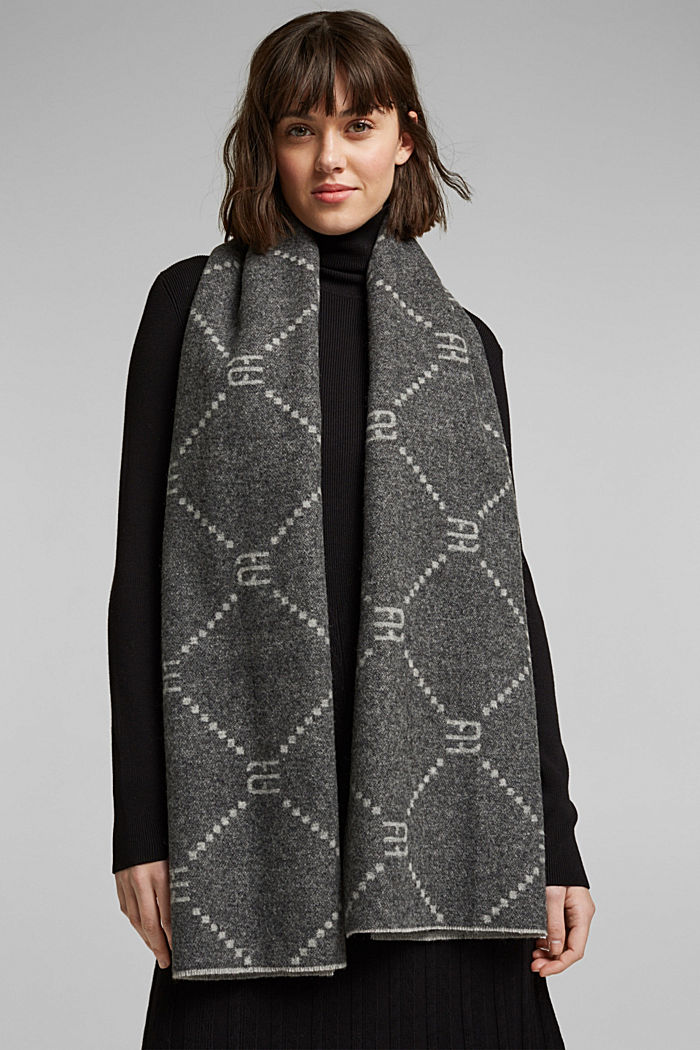 Made of wool/cashmere: monogram scarf, LIGHT GREY, detail image number 1
