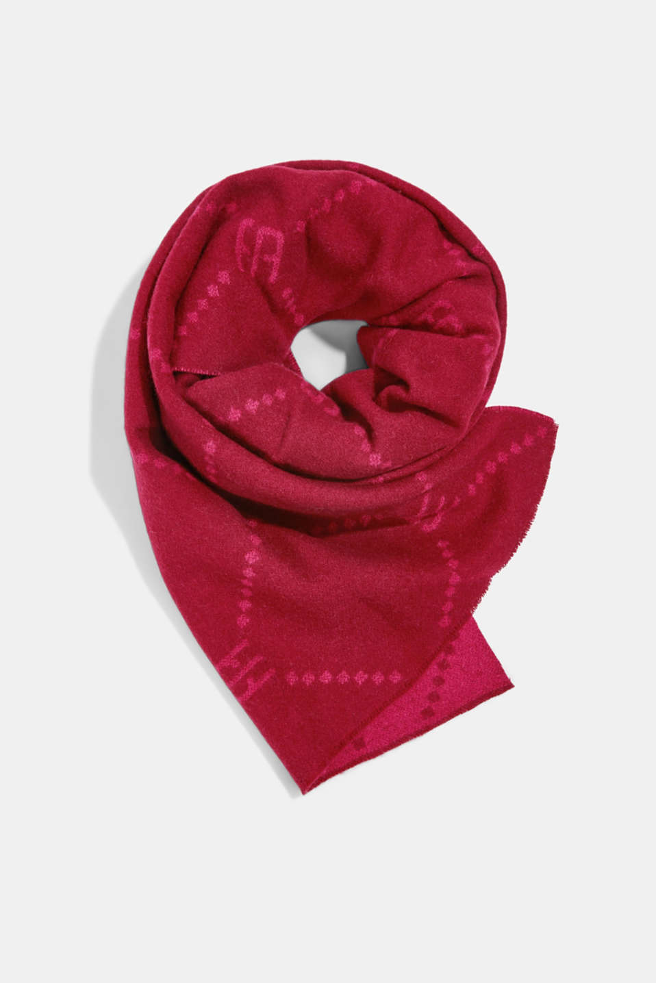 Esprit - Made of wool/cashmere: monogram scarf