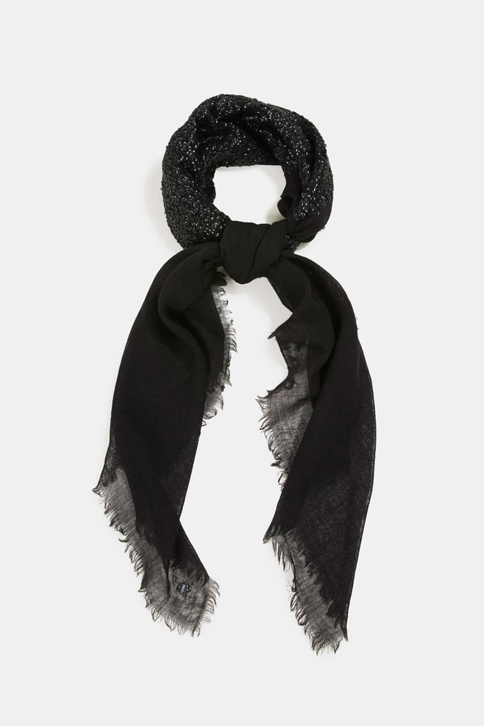 Esprit - Made of wool/silk: hand-crafted scarf