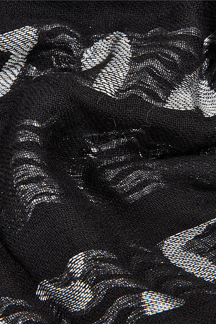 Woven scarf in blended cotton, BLACK, detail image number 2
