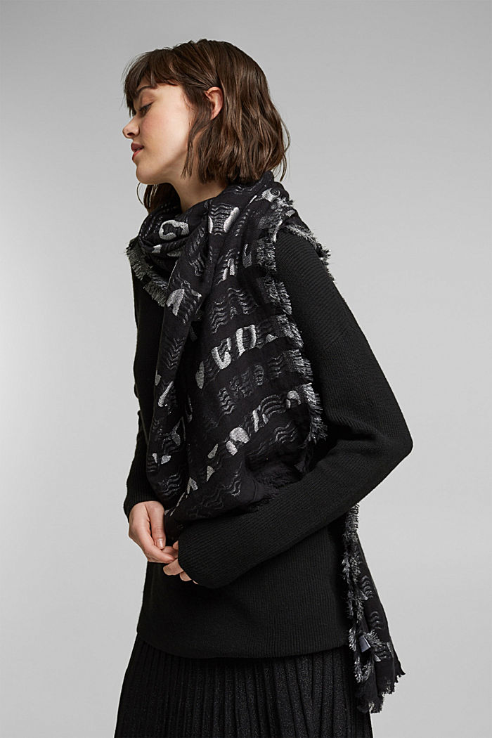 Woven scarf in blended cotton, BLACK, detail image number 1