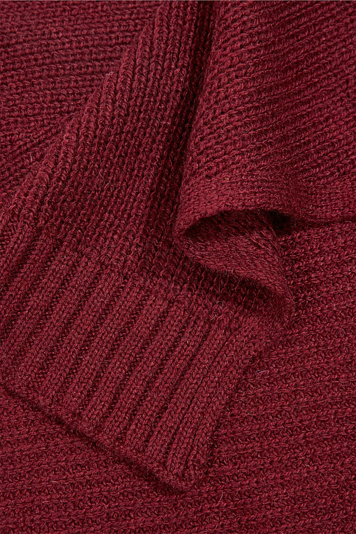 Containing wool and alpaca: Knitted top, BORDEAUX RED, detail image number 2