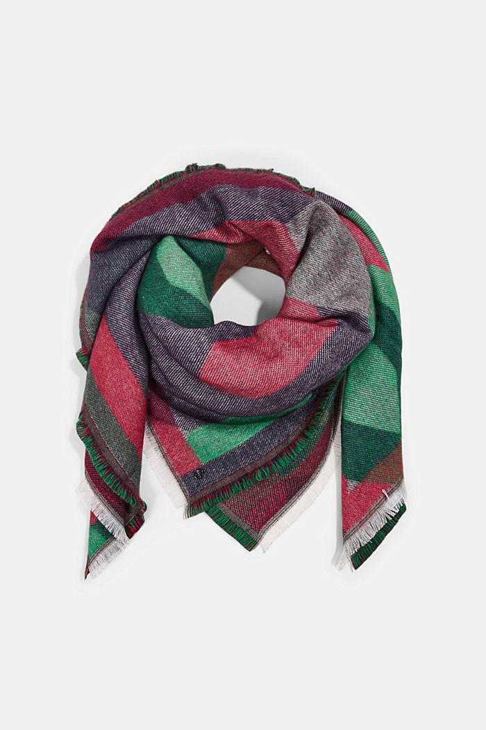 Recycled: patterned square scarf, DARK GREEN, detail image number 0