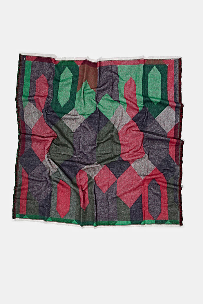 Recycled: patterned square scarf, DARK GREEN, detail image number 3