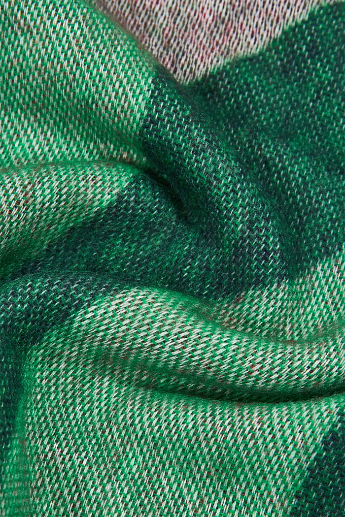 Recycled: patterned square scarf, DARK GREEN, detail image number 2