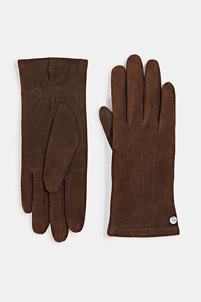 Lined goat suede gloves, BROWN, overview
