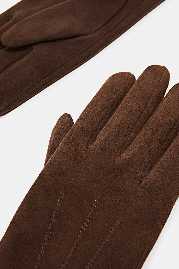 Lined goat suede gloves, BROWN, detail image number 1