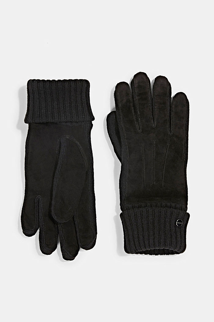 Leather gloves with soft lining, BLACK, detail image number 0