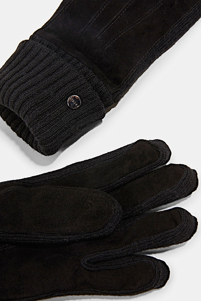 Leather gloves with soft lining, BLACK, detail image number 1