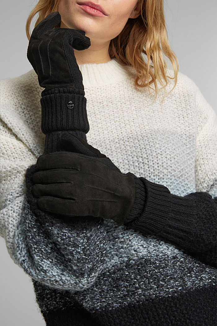 Leather gloves with soft lining, BLACK, detail image number 2