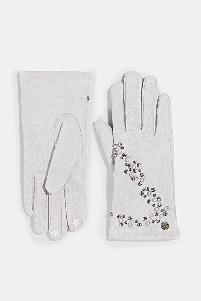 Gloves with gemstones and beads