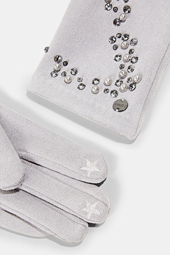 Gloves with gemstones and beads, GREY, detail image number 1