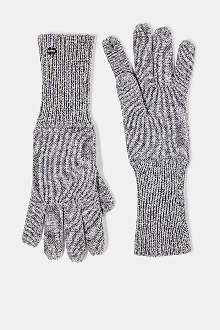 Recycled: knit touchscreen gloves, GUNMETAL, detail image number 0